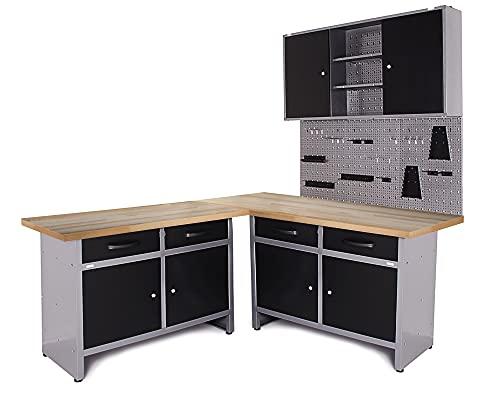 Ondis24 Werkstatt Set Ecklösung Iconic One, Werkbank, 180 cm Holzarbeitsplatte, Werkzeugschrank, Werkzeugwand Lochwand, Haken Set, Metall