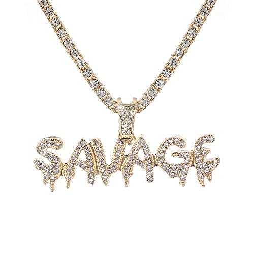 collar Collar Con Letras De Hip Hop, Cadenas Heladas De Color Dorado / Plateado, Micro Pave, Colgante De Circonita Cúbica, Collar Con Encanto Para Hombres, Agente De Regalos