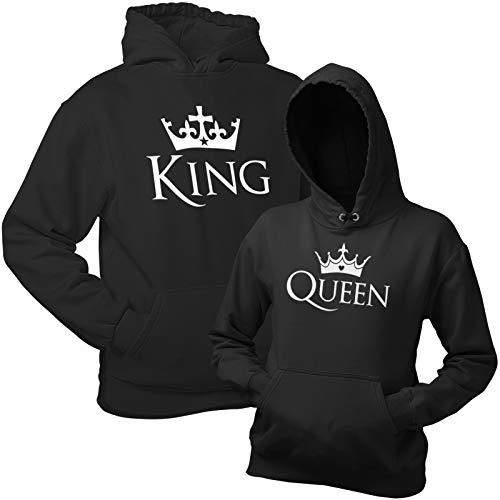 Shirtoo King Queen Kapuzenpullover (Hoodie) – Schwarze Pullover mit Kapuze im Partnerlook Geschenk zum Valentinstag, Geburtstag, Jahrestag
