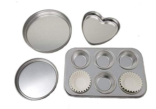 4 Pan Kit to fit Easy Bake ovens , Heart Pan, 2 Round Pans
