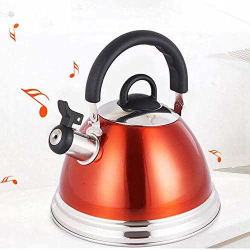 Waterkoker theepot fluit roestvrijstalen food grade theepot met softgrip anti-brandwonden handvat anti-roest geschikt voor keuken restaurant, rood 3L / 4L,4l