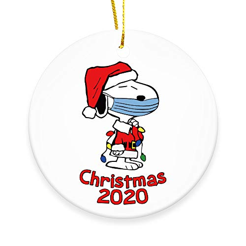 Ceramic Double-Sided Design 2020 Christmas Tree Ornaments Quarantine Gift | Snoopy with mask |Social Distancing Funny Novelty