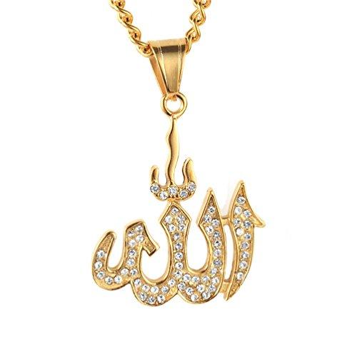PAURO Herren Edelstahl Halskette Muslim Allah Allah Goldenes Symbol AnhäNger Mit Diamant Gold