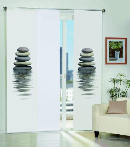 Home Fashion 3er-Set Flächenvorhänge Bilbao, Deko-Stoff Blickdicht, inkl. hochwertigem Zubehör