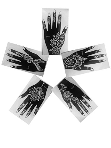 Ivana's - Henna Stencils Tattoo Mehndi Reusable Stickers Pack Of 5 (Left Hand)