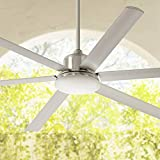 72' Casa Arcade Modern Outdoor Ceiling Fan with Light LED Dimmable Remote Control Brushed Nickel Damp Rated for Patio Porch - Casa Vieja