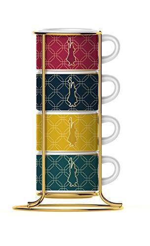 Bialetti Stellen Set 4 stapelbare Cappuccino-Tassen, Porzellan, Collection Marocco