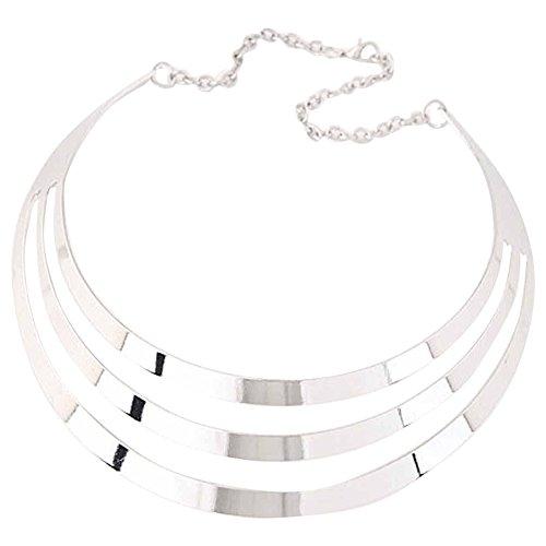 Unbekannt Choker Halskette Kette Frauen Metall Statement Modeschmuck Silber Gold (Silber)