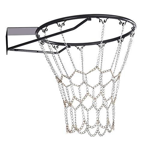 LUCYPAPASHOW Metall Basketballnetz, Verzinktes Metallnetz Ketten Netz Mit 12 Haken Für Die Meisten Standardreifen Indoor-Turnhallen, Öffentliche Outdoor-Basketballplätze