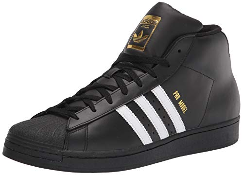 adidas Originals Men's Pro Model Sneaker, Black/White/Gold Foil, 8.5