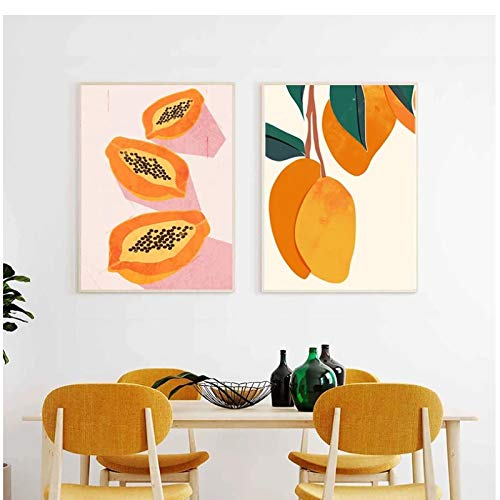 Tiiiytu Tropical Fruit Mango Papaya Watercolor Art Painting Canvas Posters and Prints Kitchen Wall Decorative Pictures for Dining Room Decor-50x70cm No Framex2pcs