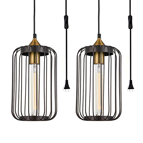 Industrial Pendant Light Sets of 2, Plug in Hanging Ceiling Light with On/Off Switch, Farmhouse Rustic Adjustable Hanging Lamp Fixture for Kitchen Island Dining Room Hallway Foyer Bedroom (Brown)