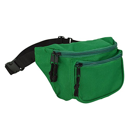 DALIX 3 Pocket Fanny Pack Money Pouch Concealer (Green)