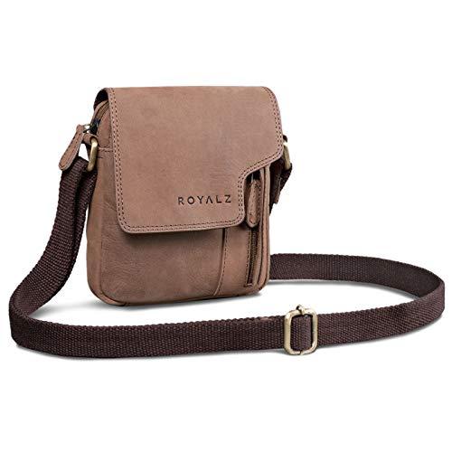 ROYALZ Vintage Herren Umhängetasche Klein Leder Männer Schultertasche Mini Seitentasche zum Umhängen, Farbe:Montana Braun