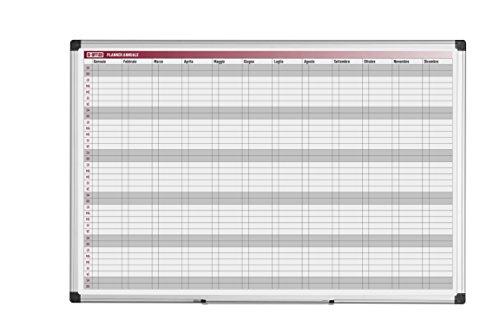 Bi-Office Planner Annuale 52 Settimane, In Italiano, Lavagna Magnetica Per Planning Annuale Cancellabile A Secco, 90 x 60 cm