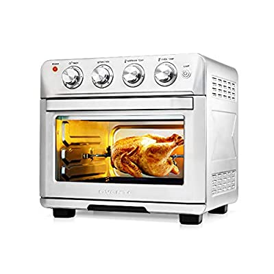 Ovente Stainless Steel Multi-Function Air Fryer Toaster Oven Combo 26 Quart with Accessories, 1700 Watt Countertop Rotisserie Convection Oven & Dehydrator for Chicken Pizza Veggie, Silver OFM2025BR