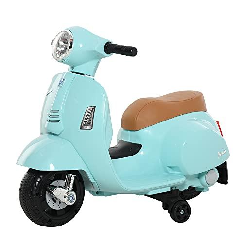 homcom Moto Elettrica per Bambini con Licenza Ufficiale Vespa Batteria 6V, Fari e Clacson, per Bimbi da 18-36 Mesi, Verde, 66.5x38x52cm