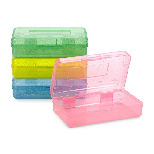 Blue Summit Supplies Colorful Glitter Plastic Pencil Boxes, Translucent Pencil Boxes for School, Crayon and Marker Organizer Boxes with Hinged Lids, Assorted Colors, 4 Pack