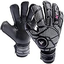 Kech GK Goalkeeper Gloves (Sizes 6-10) | EVA Fingersaves Protection | German Giga and Contact Grip Palms | Negative Roll-Finger Cut | Professional Elite Goalie Glove (Black, 7)