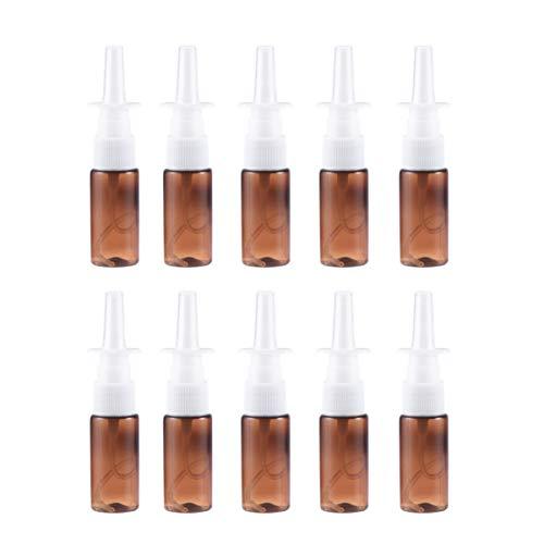 HEALLILY 10 botellas vacías rellenables de aerosol nasal de niebla fina nasal para nariz, pulverizador nasal, botella de 15 ml, color marrón, Brown (Marrón) - 2271274SYDKE