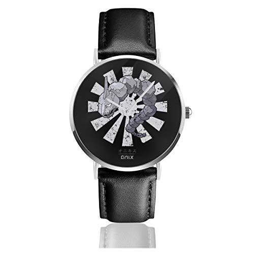 Onix - Reloj de pulsera unisex con correa de piel negra y correa de piel negra para hombres y mujeres
