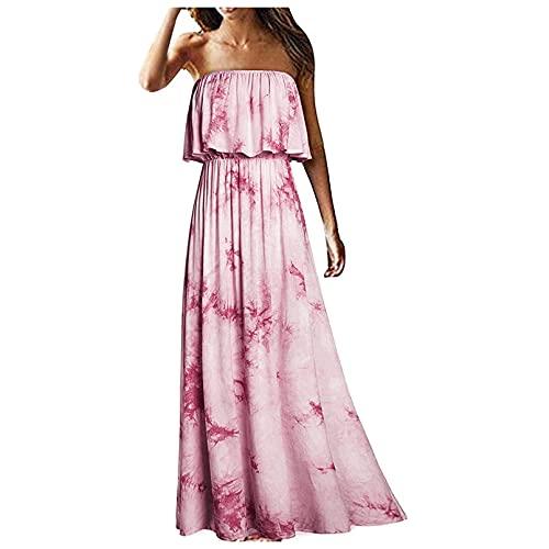 OutTop Women's Off Shoulder Wrap Maxi Dress Summer Casual Strapless Ruffle Beach Long Dresses Boho Floral Sundress (#01-Pink, L)