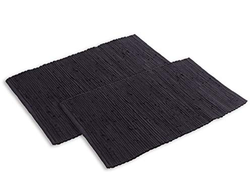 casamia Badteppich Set 2 groß 80 x 50 cm 100{10e7804990c04f15eb860285e0ebf7f81c30ab71176c8d1b4ccb59fe19bd12b8} Baumwolle Badematte Badvorleger Badezimmerteppich Chindi vers. Farbe Uni - schwarz