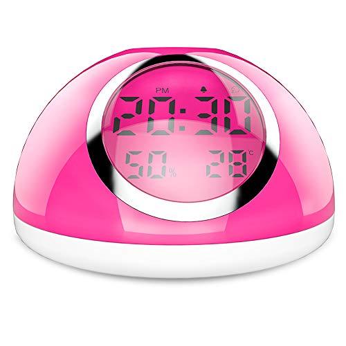 SXFYWYM Lámpara de Mesa RGB Control de Gestos Coloridos Despertador Infantil Reloj Despertador Temperatura Humedad Monitoreo Alarmas Relojes para el hogar,Blanco,100X170MM