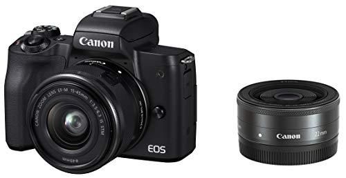 Canon キヤノン ミラーレス一眼カメラ EOS Kiss M(ブラック)・ダブルレンズキット EOSKISSMBK-WLK-A