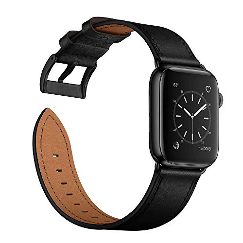 Arktis Lederarmband kompatibel mit Apple Watch (Series 1, Series 2, Series 3 mit 42 mm) (Series 4, Series 5 mit 44 mm) Wechselarmband [Echtleder] inkl. Adapter - Schwarz