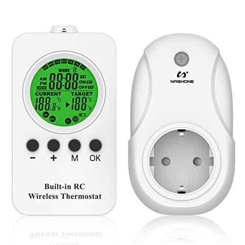 NASHONE Termostato inalámbrico con enchufe, termostato de calefacción por infrarrojos con temporizador, modo de calefacción y refrigeración. 3680 W