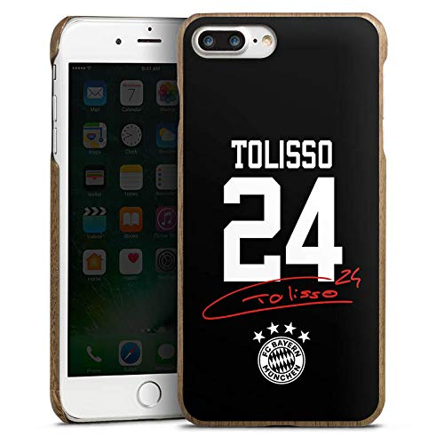 DeinDesign Holz Hülle kompatibel mit Apple iPhone 7 Plus Holz Schutzhülle Echtholz Handyhülle Tolisso #24 FC Bayern München Trikot