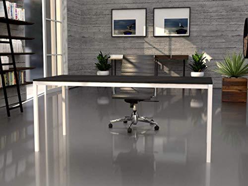 Mesa de oficina con estructura perimetral, de 160x80cm. FABRICACIÓN NACIONAL. Entrega de 3 a 5 dias. (TABLERO GRIS GRAFITO, ESTRUCTURA BLANCO)