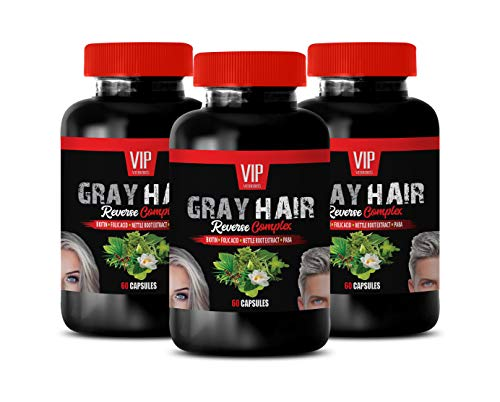 Anti Gray Hair Supplements The Best - Gray Hair Reverse Complex - Natural Solution - Powerful Results - Saw Palmetto Extract - 3 Bottles (180 Capsules)