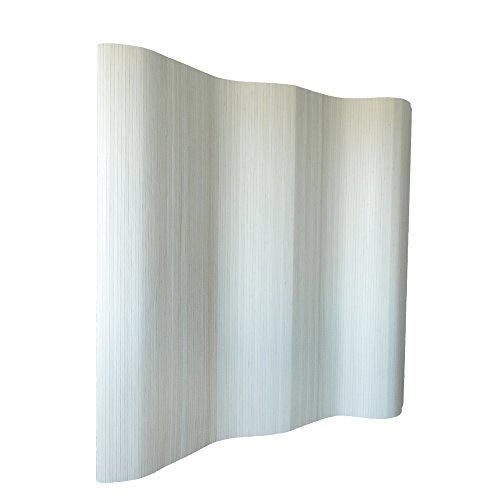 Homestyle4u 305, Raumteiler Bambus, Wellenform Rollbar, Weiss Matt, BxH 250x200 cm