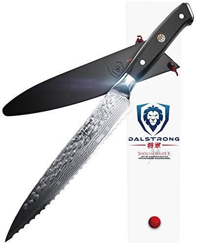 "DALSTRONG Serrated Utility Knife - Shogun Series X - Petty - Damascus - Japanese AUS-10V Super Steel - 6"" - Sheath"