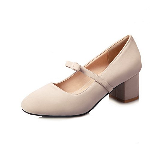 CosyFever Zapatos de Tacón Mary Jane Chunky Bajo conPuntera Cuadrada Sólido Pajarita DC48 para Mujeres Beige - 35 EU