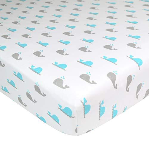 Lençol de berço de malha de jérsei 100% algodão com estampa TL Care para colchões de berço e berço padrão para crianças, baleia aquática, para meninos e meninas