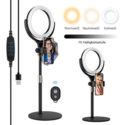 Yoozon Selfie LED Ringlicht mit Fernauslöser,Tischringlicht mit 3 Farbe 6500K dimmbare 10 Helligkeitsstufen, Ringleuchte für Youtuber, Vlog, Blogger, live Stream, schminken, Porträt,TikTok usw.