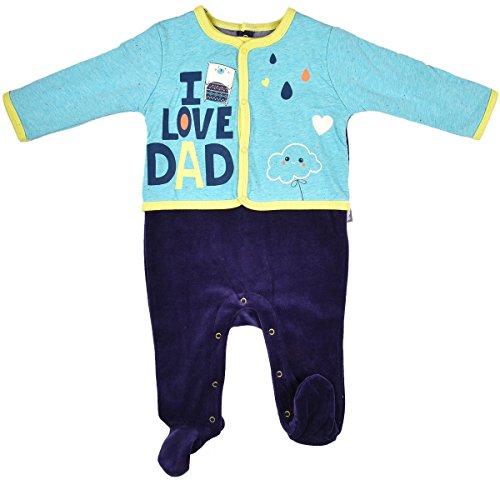 Petit Béguin - Pyjama bébé velours effet 2 pièces Daddy - Couleurs - Bleu, Longueur des manches - Manches longues, Taille - 12 mois (80 cm)