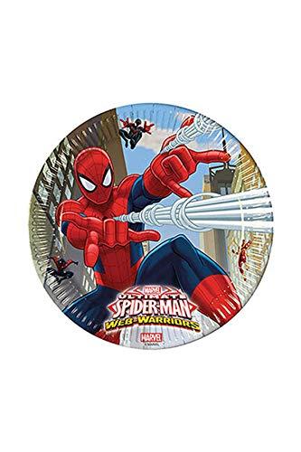 Procos 85151 – Assiettes Papier Ultimate Spider Man Web Warriors, Ø23 cm, 8 pièces, Rouge/Bleu/Bleu Clair