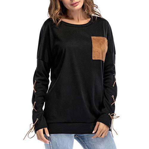 Damen T-Shirts Langarm Rundhals T-Shirt...
