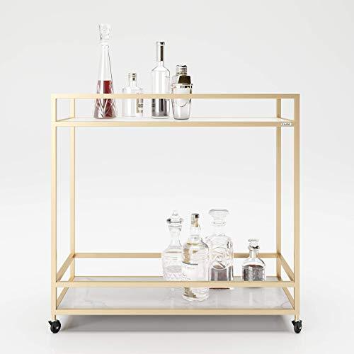 PLAYBOY 634201MB - Carro Mamoroptik con 2 estantes, mármol, Dorado, 90 x 87 x 40 cm