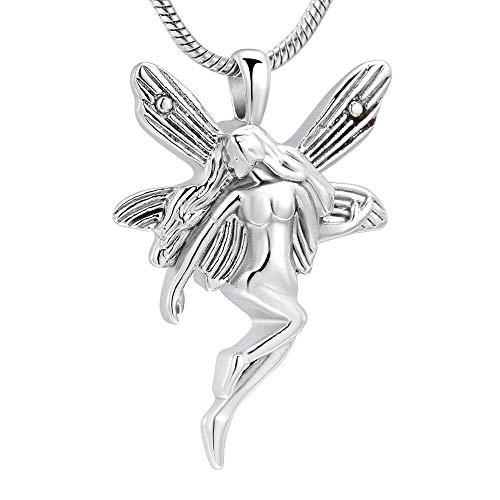 necklace Ladies fashion Guardian Angel cremation urn 316L stainless steel pendant to commemorate the ashes souvenir jewelry wholesale - black, color name: Gold Hoisting