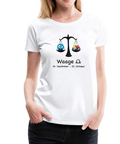 Sternzeichen Waage Niedliches Tierkreiszeichen Frauen Premium T-Shirt, S, Grau meliert