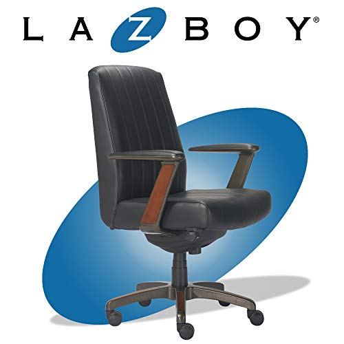 La-Z-Boy Bennett Modern Executive Lumbar Support, Rich Wood Inlay, High-Back Ergonomic Office Chair, Bonded Leather…