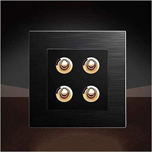 Ploutne Interruptor de control doble 86 Tipo Interruptor de panel de aluminio cepillado negro Retro Interruptor de palanca de latón Durable Panel de pared ultrafino Interruptor Interruptor de luz Lámp