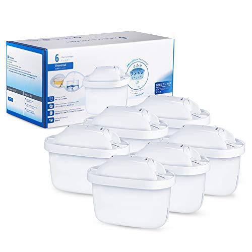 Modohe 6 Cartuchos Filtrantes para el Agua, Compatible con BRITA MAXTRA+, Filtro de Agua, Reducen la Cal y el Cloro, 6 Unidades, Blanco