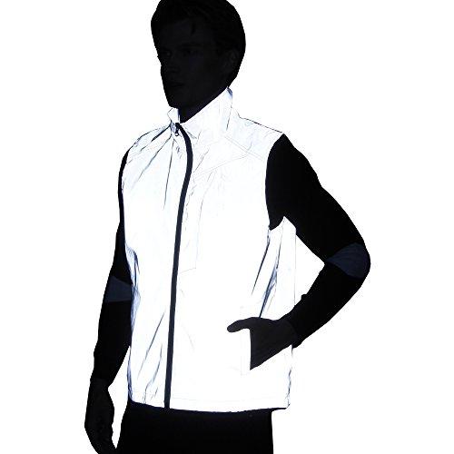 NewL männer Frauen 3 mt reflektierende Weste Jacke Casual Hiphop Windjacke Nacht sportlich Mantel mit Kapuze Fluoreszierende Kleidung (M)