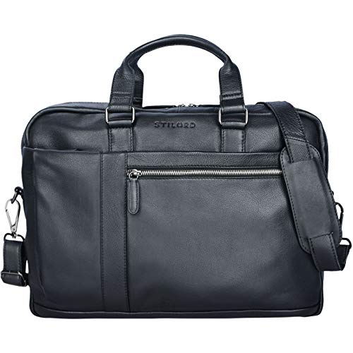 STILORD \'Nico\' Vintage Umhängetasche Leder Herren Damen 15,6 Zoll Laptoptasche groß Aktentasche Arbeit Büro Uni echtes Rindsleder, Farbe:schwarz